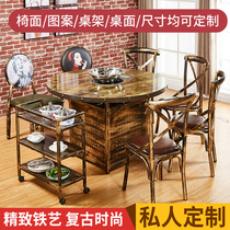 Hot pot table custom 4 people gas stove hot pot table cooker integrated string food restaurant tables and chairs combination