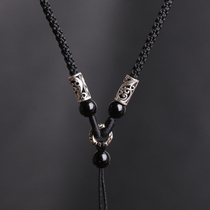925 silver necklace rope black handmade pendant rope Emerald beeswax pendant with rope hanging Jade rope halter neck