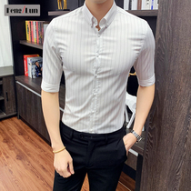 2019 summer mens shirt five-point sleeve shirt male Korean slim sleeve stripes handsome casual short-sleeved shirt