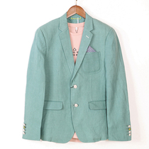 San Jie Luo high-end mens brand fashion casual spring and summer new long-sleeved linen suit jacket 81111