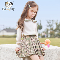 Girls skirt shirt 2019 summer and autumn new children's style plaid pleated skirt college wind skirt wild