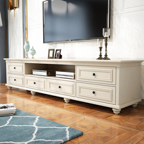 American simple solid wood TV cabinet small household living room cabinet TV cabinet coffee table combination set bedroom cabinet white.