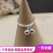 s925 sterling silver bells ring female ring ring joint ring fine personality tail ring Korean version of the gift