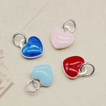 925 sterling silver love pendant DIY accessories small love enamel burning blue peach heart pendant bracelet pendant accessories