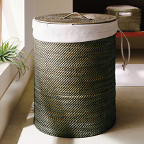 Vine house JOHNLEV s round collection bucket Indonesian rattan dirty bucket bucket American laundry basket clothes collection.