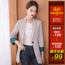 2019 Korean version of the leisure Network Red small suit jacket female new spring and autumn loose suit jacket British fashion charm