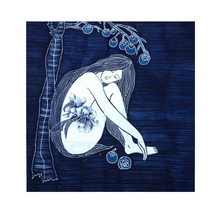 Yunnan handmade batik Painting wall-mounted national wind decorative painting bedroom frameless painting Blue Dream decoration Gabe