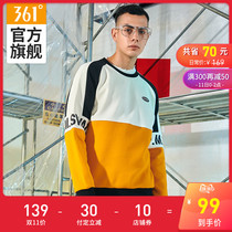 361 sports sweater mens 2019 autumn new sweater hit color stitching fashion shirt long-sleeved autumn tide y