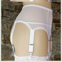Girl hanging strap sexy transparent mesh section 6 claw metal buckle non-slip garter