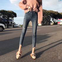 2019 new autumn high waist feet hole jeans female tight was thin wild nine points net red pants tide