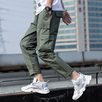 Spring and autumn straight Tide brand cargo cargo pants mens casual trousers trend wild loose nine pants men