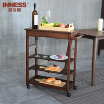 Innis solid wood mobile dining side car family multi-purpose trolley kitchen frame simple modern wine cart.