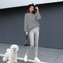 High waist plus velvet jeans female light gray tight Korean Slim was thin fashion wild nine feet pencil pants