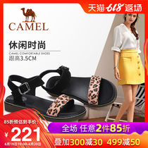 Camel shoes 2019 summer new flat casual sandals female ins tide net Red word with Roman sandals female