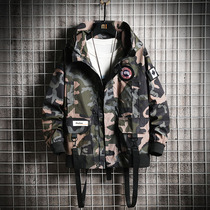 2019 casual mens autumn youth Japanese camouflage loose tooling jacket trend hooded jacket spring and autumn models