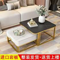 Nordic new luxury small-family tea table table living room home marble side a few simple modern square round