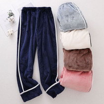 Flannel pajama pants women's trousers coral fleece loose outer wear autumn and winter warm thick home pants fairy warm pants