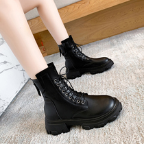 2020 New autumn winter thick-soled Martin boots womens high-heeled locomotive boots with a hundred short boots British tide ins single boots.