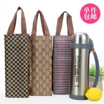 Medium-thick waterproof Cup storage bag kettle bag small bag checkered Cup set pot set large capacity Cup bag
