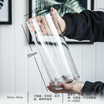 King vase simple glass transparent floor decoration living room table water bamboo rich bamboo flower flower decoration