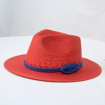 Warm red spring summer sun hat blue rope large along the sun hat hat outdoor beach hat seaside resort straw hat.