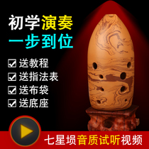 Seven-star 埙 ancient musical instrument professional ten hole pen pot 埙 adult students beginners playing rock pattern 埙 10 hole pottery 埙