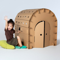 Childrens toy house cardboard house handmade cartons DIY assembly painted tent game cabin rocket