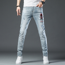 Hong Kong 2020 New Tide brand light blue jeans male embroidery personality hole stretch slim pants wild