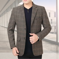 Plaid suit male middle-aged spring and autumn thin coat Korean version slim casual single piece suit plaid Daddy