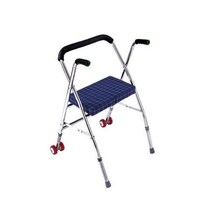 Elderly Walker with seat belt wheel elderly four-legged cane stool Walker Walker trolley folding wheelchair