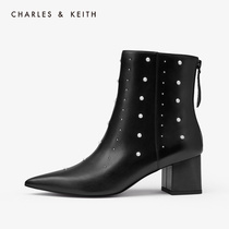 CHARLES & KEITH2019 autumn new CK1-91680040-a semi-precious jewelry pointed high-heeled boots women