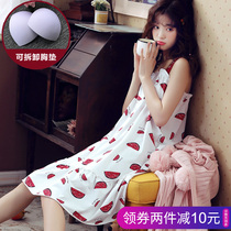 Suspenders nightdress ladies summer cotton sexy thin section pajamas with chest pad dress summer pregnant women home service