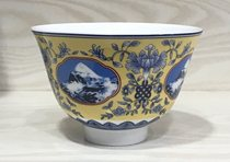Tibetan Incense Style landscape pattern porcelain bowl Big belly cup ginseng fruit yogurt bowl characteristic buttered tea bowl