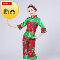 Le nouveau Northeast Big Flower Cloth un costume d'hymne d'âge moyen et d'âge ancien New Year's Day robe de scène nationale costume fan taille de tambour dance