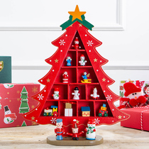 Christmas decorations red wood small desktop three-dimensional Christmas tree creative scene layout decoration size