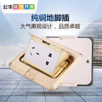 Bull switch ground plug five-hole ground socket ground pin plug floor socket full copper 5-hole hidden ground socket