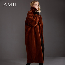 Amii minimalist European goods 100%wool fur coat temperament winter loose thick sheep shearing coat