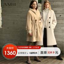 Amii minimalist lazy bathrobe tide hooded 100% sheep fur Grass 2018 Winter new sheep shearing jacket female