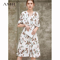 Amii minimalist temperament French retro dress female 2019 summer new V-neck strap printed chiffon skirt