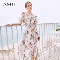 Amii minimalist French girl holiday dress female 2019 summer new V-neck printed chiffon two-piece skirt