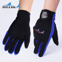 DIVESAIL 1 5MM thin section with Velcro snorkeling diving gloves anti-anti-slip winter swimming gloves
