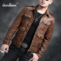 New Haining leather leather mens sheep skin hunting short paragraph slim lapel leather jacket retro old Tide