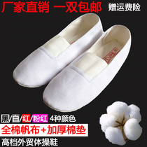 High-end childrens men and women canvas Gymnastics shoes practice shoes cotton soft yoga shoes body shoes small white shoes fitness shoes