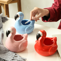 Creative personality cartoon Nordic flamingo ashtray trend multi-functional simple home bedroom living room smoke tank.
