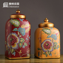 American storage tank decoration European-style ceramic candy cans decorative jars porcelain cans with lid general cans soft decoration