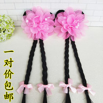 Childrens wig headdress baby cute little pigtail head flower fairy hairpin Princess antique wig Tang suit styling hair accessories