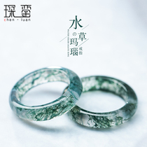 Water Agate ring a figure ice species floating flower chalcedony ring index finger ring couple grass green ring finger