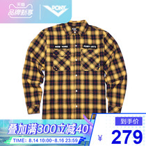 PONY Pony autumn men and women models long-sleeved cotton sports life casual fashion plaid shirt 93U2FS01