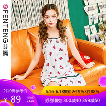 Fen Teng pajamas female summer strap nightdress sweet cute cherry summer knit cotton sexy home service in the short skirt