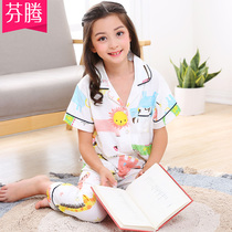 Fen Teng summer short-sleeved pants cotton in the big girl girl pajamas suit cotton cartoon cardigan home service